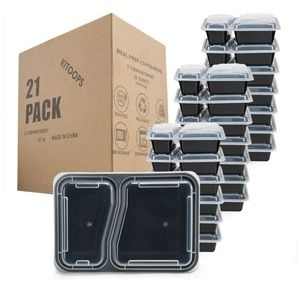 Meal Prep Containers 2 Compartment [21 Pack] 28 oz